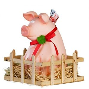 Cochon-Jimmy-avec-table-et-paille-Tirelire-en-cramique-XXL-0