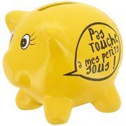 Promobo-Tirelire-En-Cramique-Design-Petit-Cochon-Mots-Humour-Pas-Touche-Jaune-0