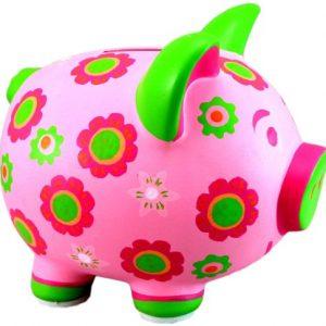 Twos-Company-Tirelire-en-forme-de-cochon-rose--fleurs-vertes-0