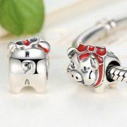 Tirelire-cochon-avec-Bllack-Email-Rouge-et-argent-sterling-925-pour-bracelet-Pandora-Charm-Bracelet-0-0
