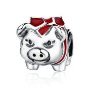 Tirelire-cochon-avec-Bllack-Email-Rouge-et-argent-sterling-925-pour-bracelet-Pandora-Charm-Bracelet-0