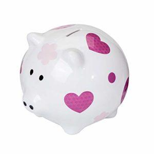 SPOTTED-DOG-GIFT-COMPANY-Trs-Grande-Tirelire-Cochon-en-cramique-Blanche-avec-Coeur-Rose-pour-Fille-Enfant-Adulte-et-Adolescent-avec-bote-Cadeau-0