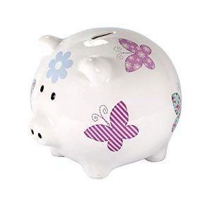 SPOTTED-DOG-GIFT-COMPANY-Trs-Grande-Tirelire-Cochon-en-cramique-Blanche-avec-Conception-de-Papillon-colors-pour-Fille-Enfant-Adulte-et-Adolescent-avec-bote-Cadeau-0
