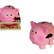 TIRELIRE-COCHON-gante-xxl-tirelire-originale-tirelire--casser-rigolote-rose-argent-monnaie-tirelire-en-cramique-avec-marteau-et-enclos-en-bois-0-0