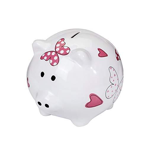 SPOTTED-DOG-GIFT-COMPANY-Tirelire-Cochon-en-Cramique-avec-Papillons-et-Coeurs-Cadeau-pour-Enfant-Fille-e-Adulte-Femme-0