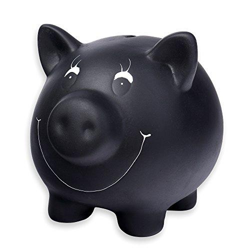 Schramm-Tirelire-cramique-Noire-avec-Vernis-pour-Tableau-Noir-inscriptible–la-Craie-Tirelire-Cochon-avec-Craie-et-verrouillable-0