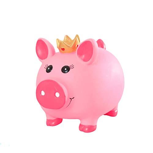 VOSAREA-Tirelire-cochon-en-plastique-rose-petite-avec-couronne-0